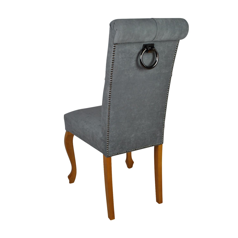 krzesło pikowane z kołatką szare